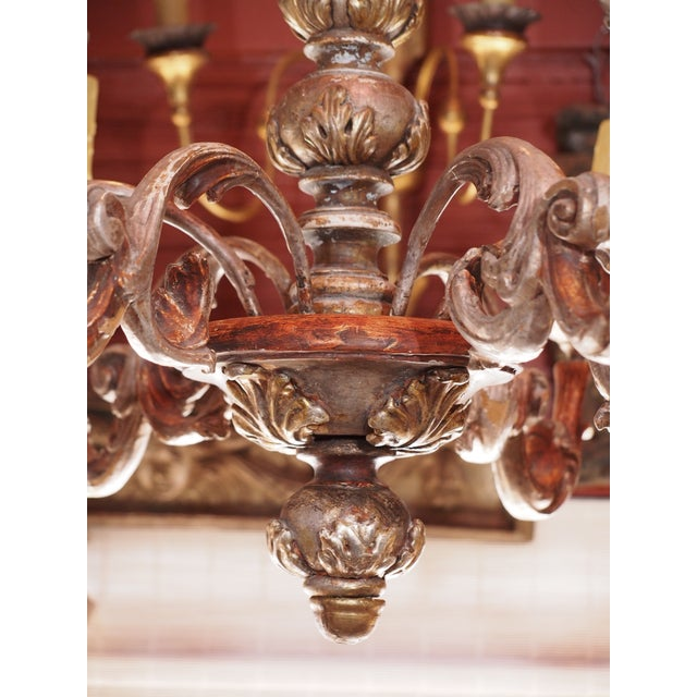 Mid 20th century Italian Wood Chandelier For Sale - Image 4 of 8