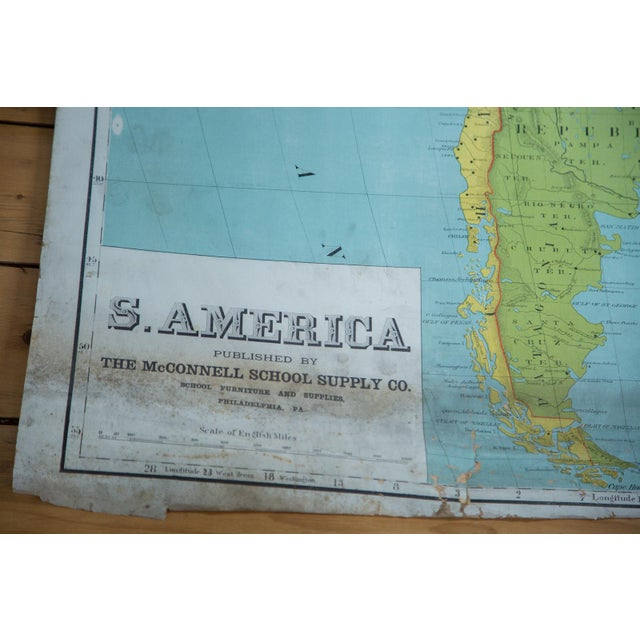 Blue Vintage Pull Down Map of South America For Sale - Image 8 of 9
