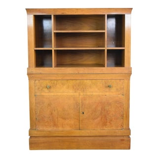 Cabinet With Burl Veneer and Shelf Storage For Sale