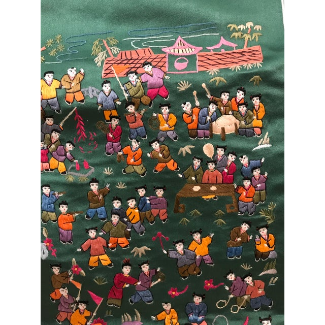 Mid 20th Century Vintage Chinese Embroidered Wall Hanging For Sale - Image 5 of 8