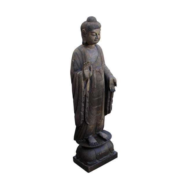 Asian Chinese Dark Gray Stone Carved Standing Abhaya Mudra Buddha Statue For Sale - Image 3 of 8