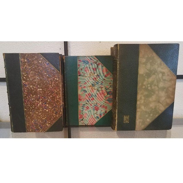 Late 18th Century Antique Green Leather Books - Set of 5 For Sale - Image 5 of 11