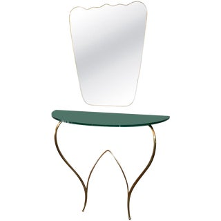 Italian 1960s Brass Console and Mirror For Sale