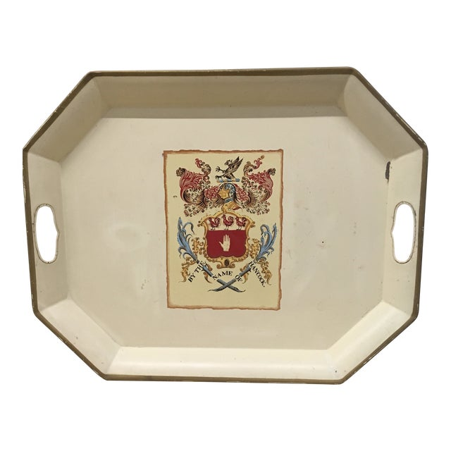 Tray - Ivory Enamel Coat of Arms For Sale