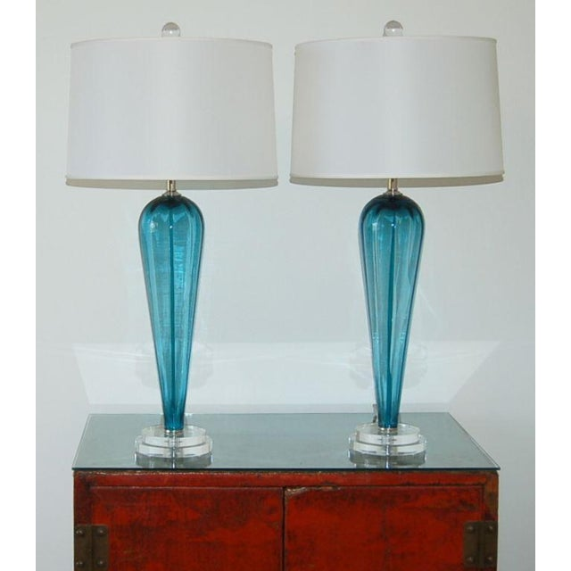 Italian Vintage Italian Glass Teardrop Table Lamps Teal Blue For Sale - Image 3 of 8