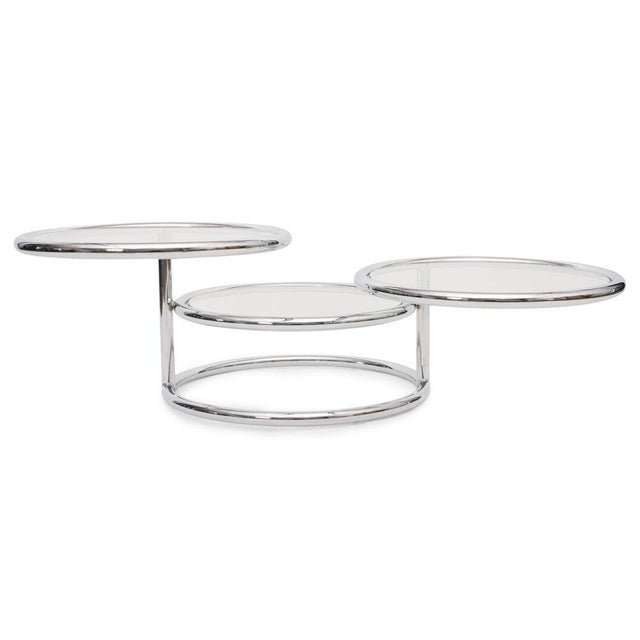 Silver Convertible Chrome & Glass Cocktail Table after Pace For Sale - Image 8 of 8