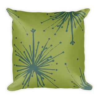Teal Flower Power Throw Pillow For Sale