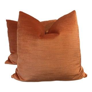 "Fabricut Orange Linen Velvet 22"" Pillows-A Pair For Sale"