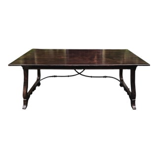 Paul Ferrante Spanish Colonial Iron & Walnut Ortega Work Table Desk For Sale
