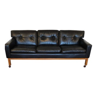 1960s Mid Century Modern Black Leather Sofa from Peem Oy Finland For Sale