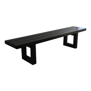 Avantgarden Slatted Wood and Blackened Steel Bench For Sale