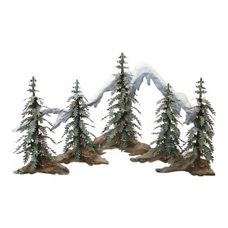 Woodland Scene With Mountains Metal Wall Sculpture
