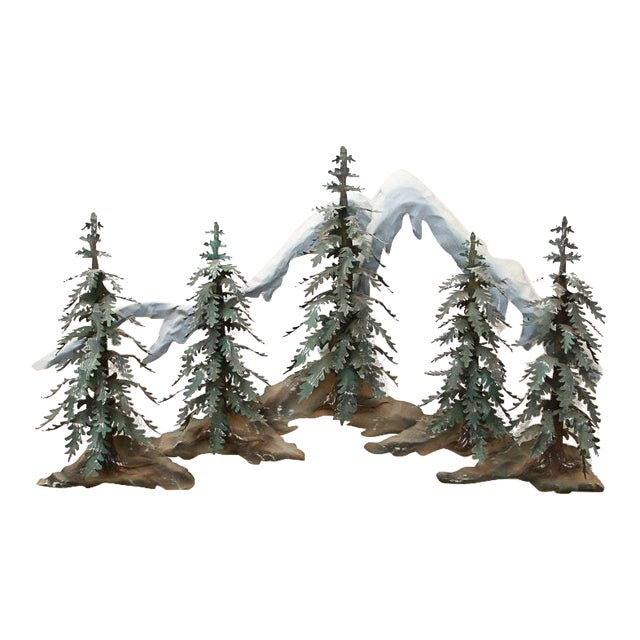 Woodland Scene With Mountains Metal Wall Sculpture For Sale