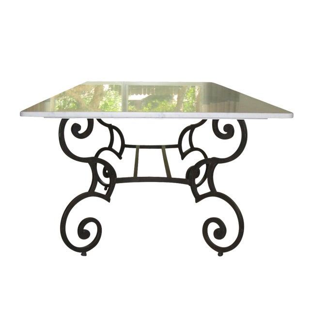Honed Carrara Marble & Iron Dining Table - Image 1 of 5