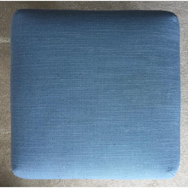 Blue 2 Carved French Linen Upholstered Stools For Sale - Image 8 of 10