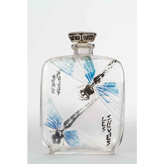 Art Deco French Art Deco Rectangular Clear And Frosted Glass Perfume Bottle For Sale - Image 3 of 3
