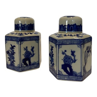 Small Blue and White Chinese Ginger Jars - A Pair For Sale