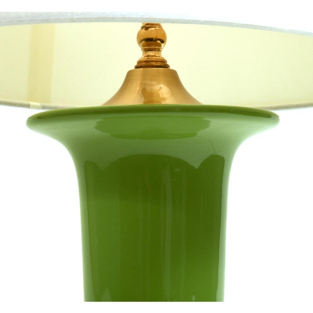 Brass Green Porcelain With Gilt Brass Base Table Lamps - a Pair For Sale - Image 7 of 10