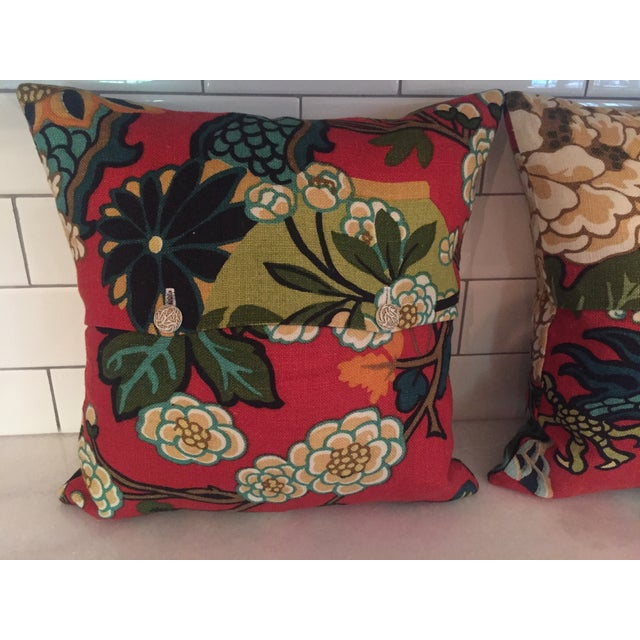 Schumacher Schumacher Chiang Mai Dragon in Red Pillows - Pair For Sale - Image 4 of 11