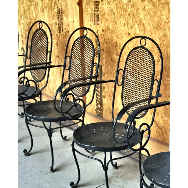 1900s Art Nouveau Indoor and Outdoor Iron Dining Set - 9 Pieces For Sale - Image 9 of 11