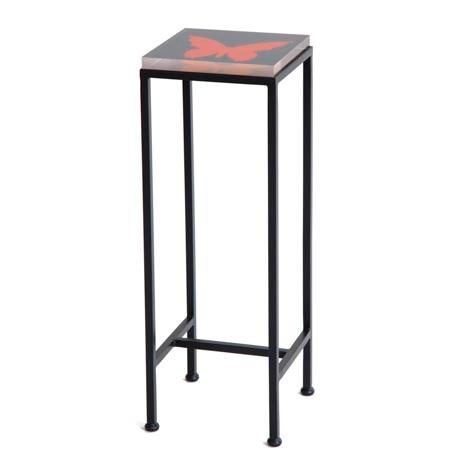 Wendy Concannon Contemporary Ellsworth Acrylic Drinks Table – Base: European Blue, Top: Butterfly Midnight/Poppy For Sale - Image 4 of 4