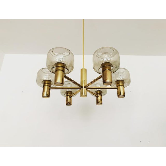 Mid-Century Modern Brass and Smoked Glass Chandelier For Sale - Image 4 of 7