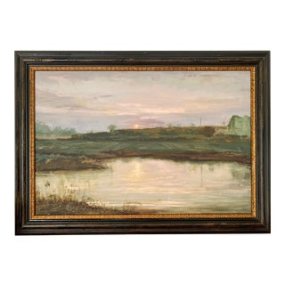 Landscape #2 Harvest Moon Fine Art Giclée Print Framed For Sale