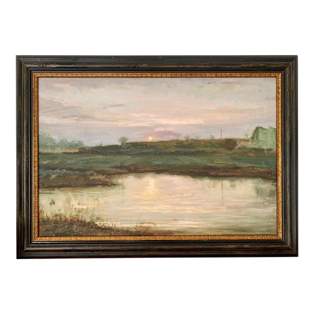 Landscape #2 Harvest Moon Fine Art Giclée Print Framed For Sale