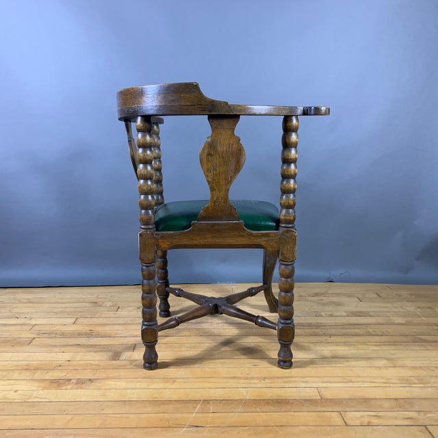 Leather Late 19th Century Continental Corner Chair, Green Leather For Sale - Image 7 of 10