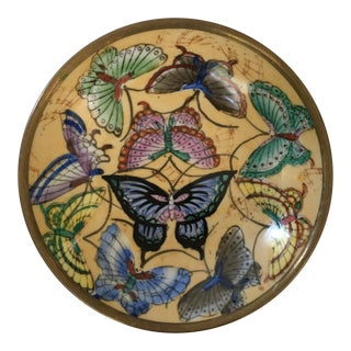 Chinese Brass Encased Porcelain Butterfly Tray For Sale