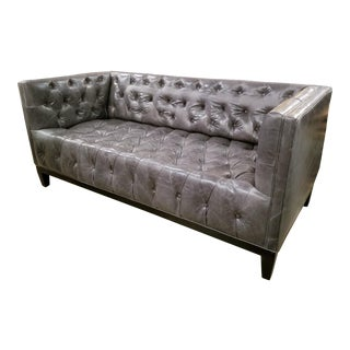Newly Upholstered Gray Leather Tufted Sofa With Dark Wood Legs