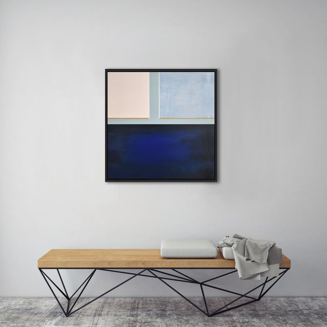 Abstract Blue Color Block - Black-Framed Giclee Print For Sale - Image 3 of 6
