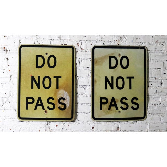 Vintage Do Not Pass Metal Traffic Signs For Sale - Image 13 of 13
