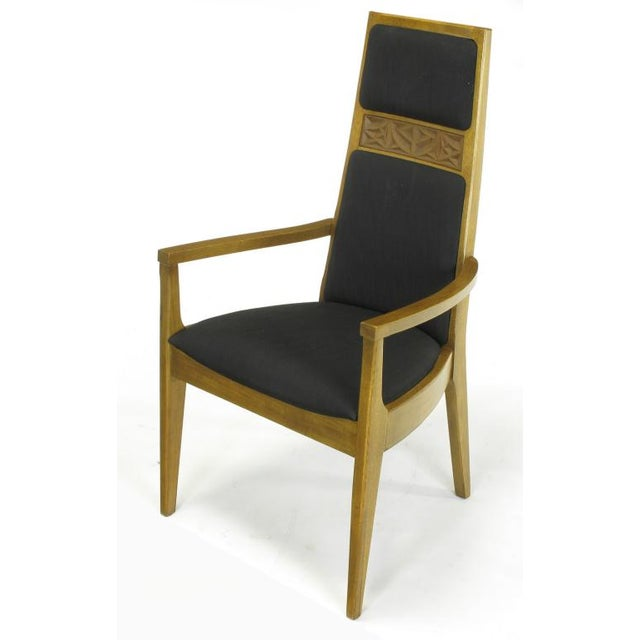 Six Sculpted Ash Tall Back Kroehler Dining Chairs For Sale In Chicago - Image 6 of 10