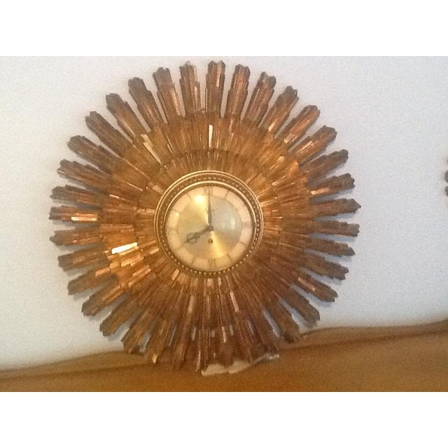 Mid-Century Modern Mid-Century Syroco Wall Clock & Two Starbursts - Set of 3 For Sale - Image 3 of 4