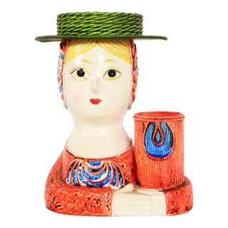 Vintage Gemma Taccogna Mid Century Modern Paper Mache Girl Desk Caddy For Sale