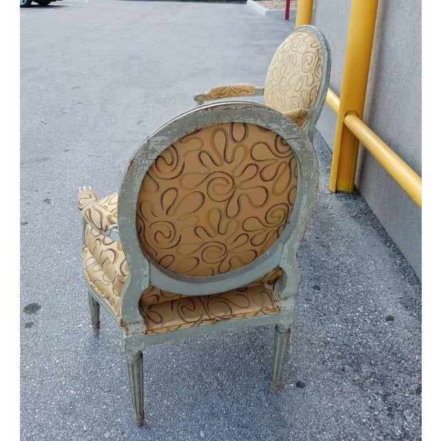 Paint Mid 18th Century Antique French Louis XVI Medallion Chairs - A Pair For Sale - Image 7 of 13