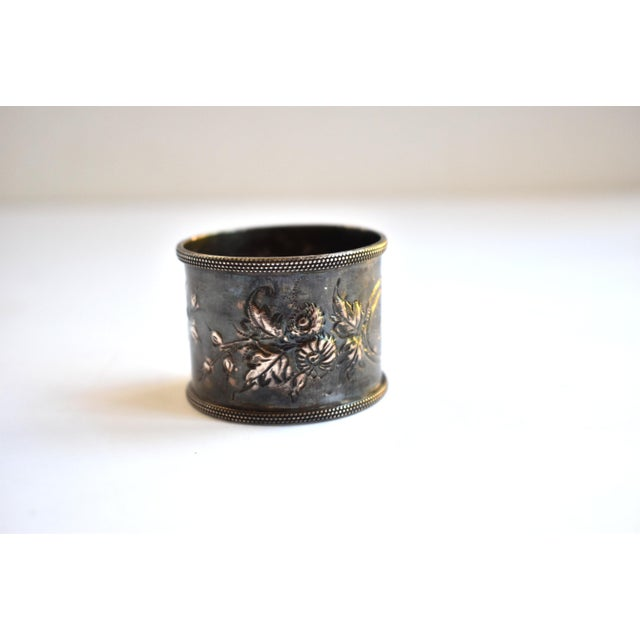 Edwardian 19th Century Antique Victorian Repoussé Napkin Ring Holder For Sale - Image 3 of 8