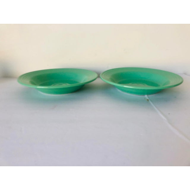 1990s Fiesta Ware Green Soup Bowls S-2 For Sale - Image 5 of 5