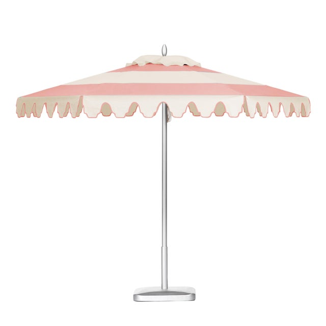 Coral Sands 9' Patio Umbrella, Pink and White For Sale - Image 4 of 4