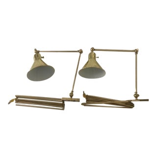Mid-Century Modern Hinson Library Brass Wall Light Adjustable Arm Sconces - a Pair