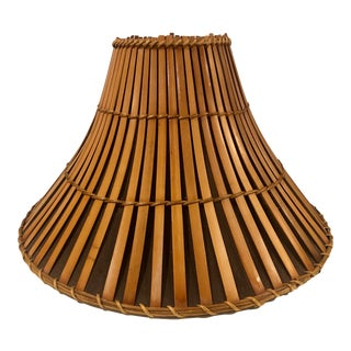 Vintage Rattan Silk Lined Boho Chic Chinoiserie Lamp Shade For Sale