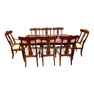 Ethan Allen British Classics Dining Set Table, 8 Chairs For Sale