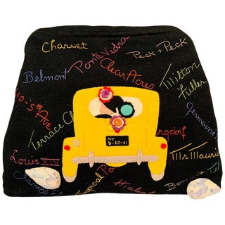 New York City Appliqued Clutch With Night Club and Shopping Theme Embroidery For Sale