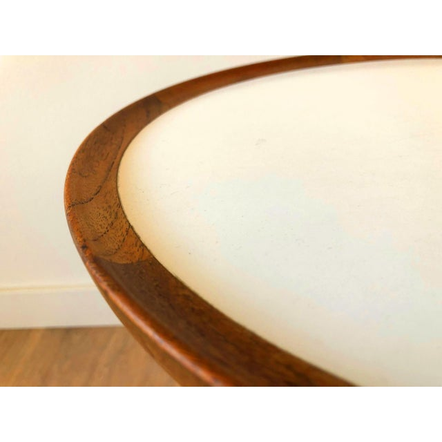 Small mcm side table by Hans Anderson, circa 1950s-1960a. Teak base and trim with white malamine surface.