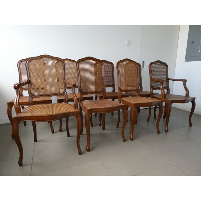 Reproduction Louis XV Walnut Caned Dining Chairs - Set of 8 - Image 2 of 10