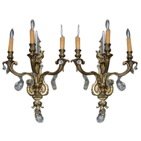 French Bronzed & Crystal Wall Sconces - A Pair - Image 1 of 5