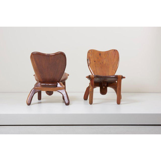 Mid-Century Modern Pair of Craft Wooden Studio Lounge Chairs by Don Shoemaker, Mexico, 1960s For Sale - Image 3 of 13