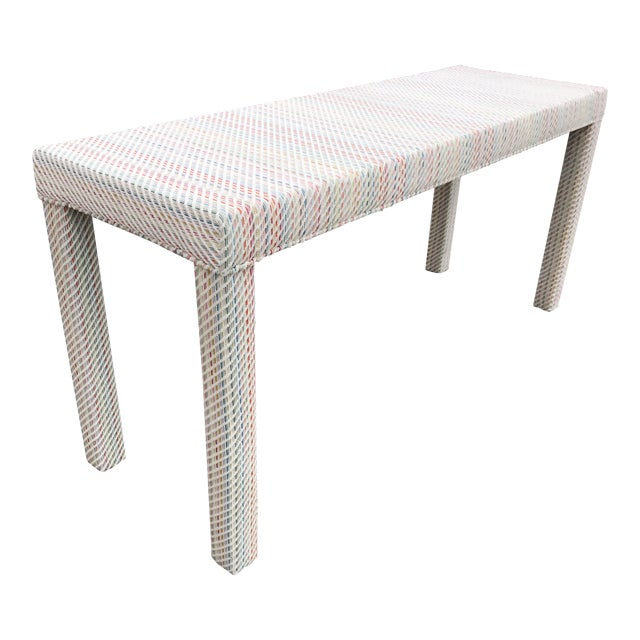 Scalamandre Upholstered Parsons Console Table For Sale