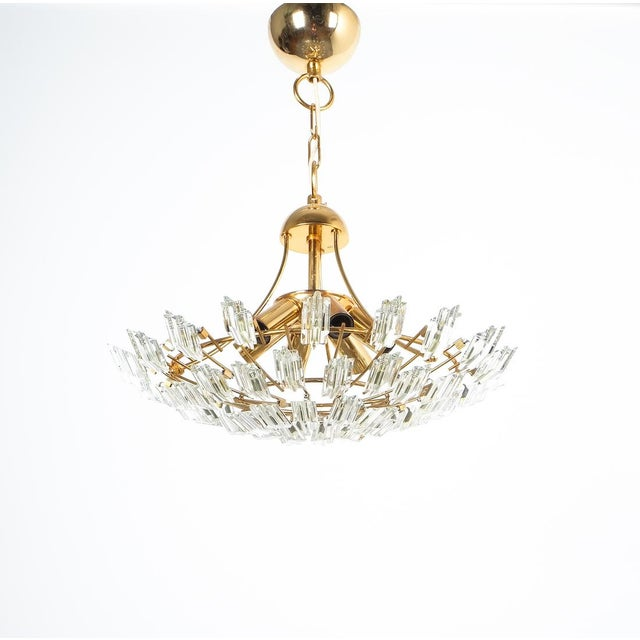 Italian Stilkrone Crystal Glass and Gilded Brass Flush Mount For Sale - Image 6 of 8